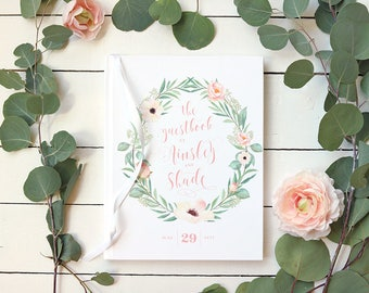 Floral Wedding Guestbook • Blush & Green Wreath Watercolor Wedding Guest Book • Personalized Romantic Guestbook • Summer Wedding • 8 x 10