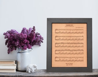 Leather anniversary gift, engraved sheet music, 3rd anniversary gift, first dance art, wedding song, third anniversary gift for him, 3 years