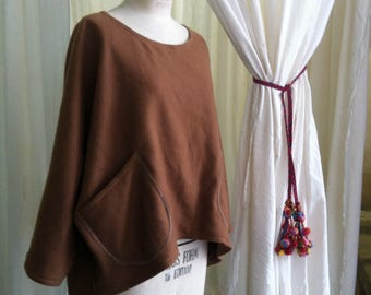 Woollen Windcheater Womens Top in Earth Brown Wool Regular Style Dipped Hem Free size small Jumper Hoodie