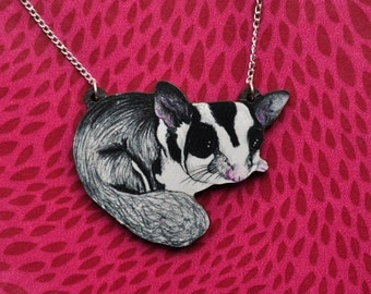 Sugar Glider Necklace - Illustrated Wooden Jewellery.