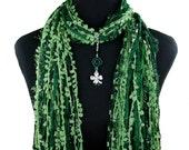 St Patricks Day Shamrock Scarf, Green Celtic Knot, Shamrock Necklace Scarf, Detachable Pendant, Boho Fringe Scarf