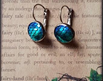 Blue Mermaid Scales Earrings, Silver Mermaid Scale Earrings, Mermaid Jewellery, Mermaid Jewelry earrings, Mermaid Accessories, Mermaid Gifts