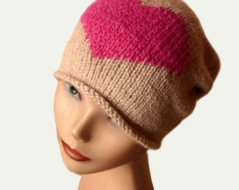Slouchy Knit Hat / Women Beanie Hat / Knit Hat / Womens Hat / Natural Fiber / Women Accessories / Knit Hat Women / Slouch Beanie Hat
