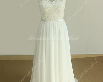 Deep V Neckline Ivory A Line Chiffon Lace wedding dress with scallop open back