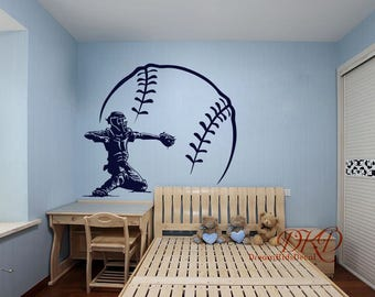 Baseball Decal Wall Vinyl Art Kids Teens Boys Room