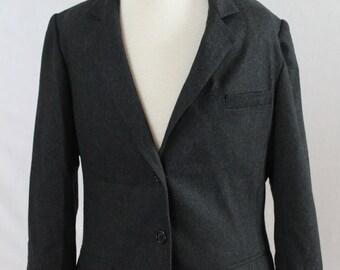 80's Wool Black Blazer/ SG Petites By Jim Baldwin