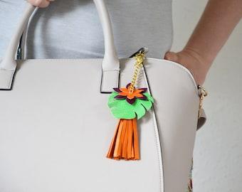 Bag charm tropical, Bag charm tassel, Leather tassel  keychain, Orange bag charm, Leather bag accessory, Leather gift for wife, Boho gift