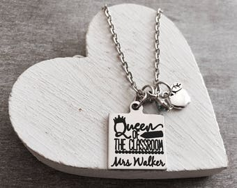 Queen of the Classroom, Silver Necklace, Charm Necklace, Gift, Teacher, Teaching assistant, Personalized, End of year, Teacher Appreciation