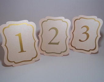 Blush and Gold Table Numbers  - Free-standing - Cut Out - Wedding, Party, Dinner, Birthday - Gold, Antique Gold, Gold leaf