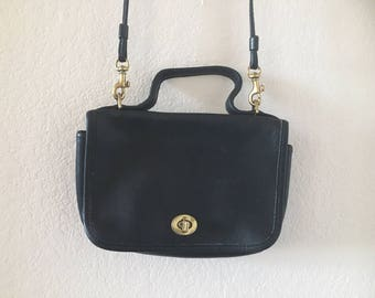 vintage 80's/90's BLACK COACH BAG- small, handle, cross body