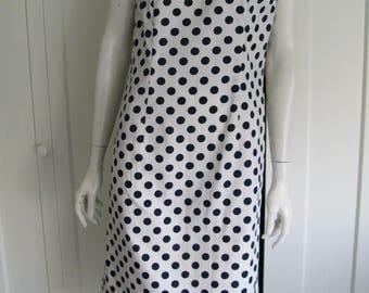 Vintage 60's Sleeveless Polka Dot Shift Dress - Navy & White Cotton Sz Small/Medium