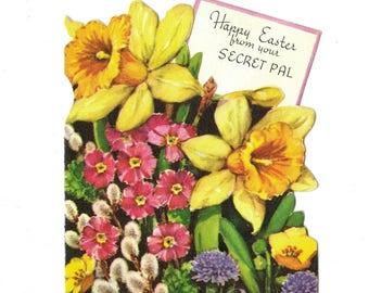 Vintage UNUSED Secret Pal EASTER Greeting Card 1950's Gibson Daffodils Spring Flowers