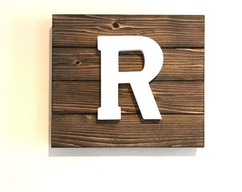 Rustic Letter Sign  // Monogram Wood Sign // Family Letter Sign // Ampersand Sign