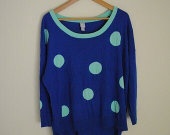 Vintage Polka Dot Blue Hipster Sweater - Women's Size XL