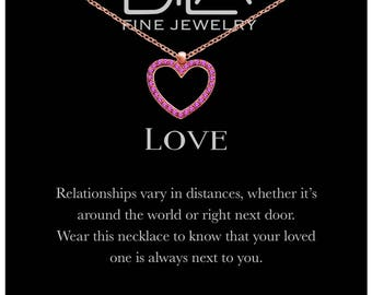 DTLA Heart Necklace in Rose Gold Plated Sterling Silver with Inspirational Love Message Card - Red CZ
