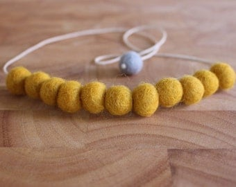 Felt Ball Necklace // Mustard