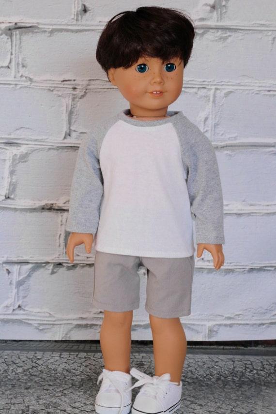 American Boy Doll Clothes - White with Light Grey BOY Long Sleeve Raglan BASEBALL TEE for 18 Inch Doll such as American Girl Doll