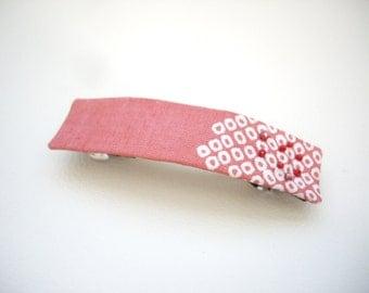 Pink rectangle barrette, Kimono fabric barrette, Fabric barrette,Shibori kimono, Fabric hair clip, Japanese gift, Japanese hair accessory