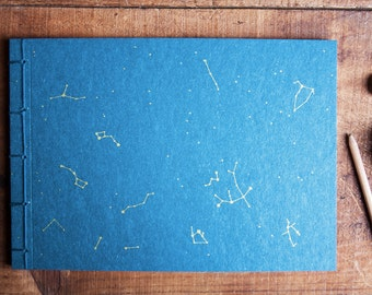 Constellation sketchbook, gold handmade notebook, astronomy journal