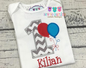 first birthday outfit boy - 1st birthday boy outfit - first birthday shirt boy - birthday balloon shirt - boy birthday outfit