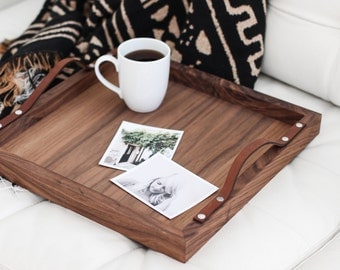 Walnut + Leather Square Breakfast Tray: handmade, solid wood, newlywed home decor gift