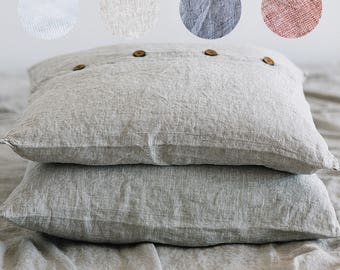 "Linen PILLOWCASE Stonewashed linen pillow case EURO 26""x26""- Softened linen pillow sham with middle stitch in 4 colors"