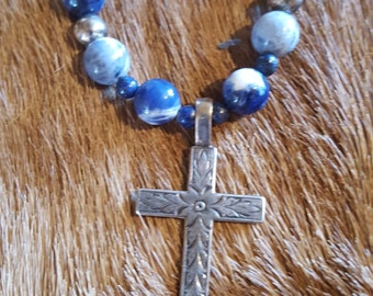 Lapis and Sterling Silver Cross Necklace