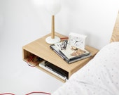 Floating wood nightstand / Bedside Table / Drawer,  Scandinavian Mid-Century Modern Retro