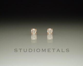 Tiny Rose Gold Diamond Earrings, Rose Gold Earrings, 14K Rose Gold Diamond Studs, Diamond Earrings, Solid Rose Gold, 2mm Stud Earrings, E110