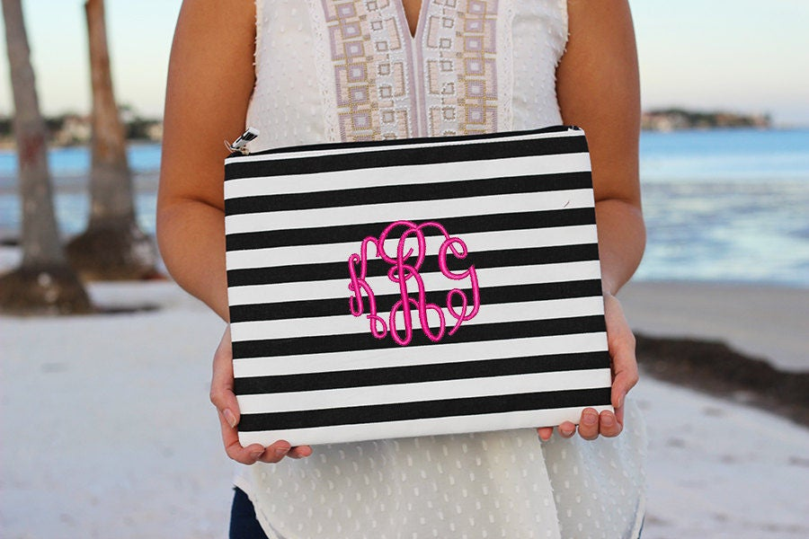 Monogrammed Striped Pouch | Monogrammed Pouch | Personalized Bridesmaid Gift | Personalized Black and White Pouch