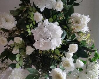Silk Floral Arrangement Wedding Altar Flowers Peony, Hydrangea, Rose, Snapdragon and Berries