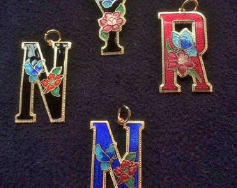 Sea Gem signed Cloisonne Initial N (two colours) Y or R enamel pendants decorated in butterfly and flowers