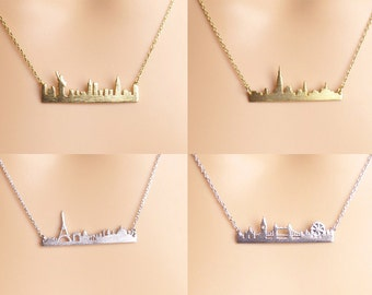 NYC,Statue of liberty,Paris London necklace/ NYC Skyline necklace,anniversary gift/Paris London skyline necklace/Gift idea/Christmas present