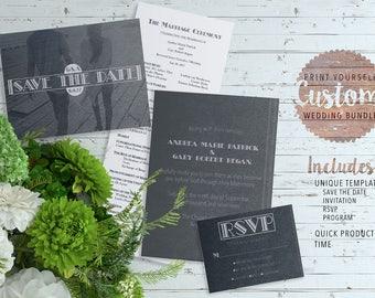 Personalized Wedding Bundle • PIY • Save the Date • Invitation • RSVP • Program • Print it Yourself