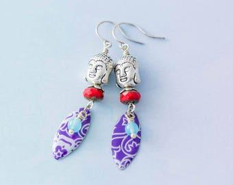 Buddha Earrings with Vintage Tin, Buddha Head Earrings, Spiritual Jewelry, Silver Buddha Earrings, Colorful Spiritual Jewelry
