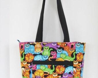 Cat Tote Bag, Zippered Tote Bag, Knitting Bag,