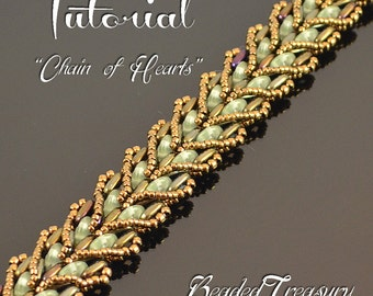 Chain of Hearts - beading pattern, beaded bracelet tutorial, beadweaving, QuadraLentil Bar bead pattern / TUTORIAL ONLY