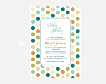 Baby Shower Invitation | DIY Printable Baby Shower Invitation | Polka Dots Baby Shower Invite