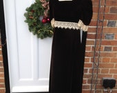 Victoriana Edwardian Style Chocolate Brown Velvet Dress