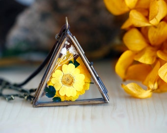 Cadmium yellow floral triangle necklace - floral- vintage- woodland- daisy flower- glass locket - tree branch -