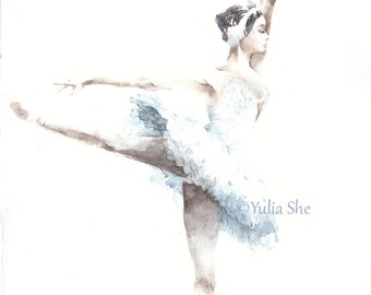 "Original watercolor painting ballerina white swan dancing home decor 10x13"""
