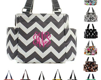 Personalized Caddy Organizing Utility Tote Bag Monogrammed Zip Top Pocket Beach Diaper Craft Embroidered Owl Chevron Damask Arrow Pink Coral