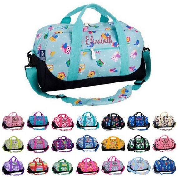 monogrammed kids duffel bag personalized monogram wildkin