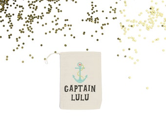 Captain {set of 10} Nautical Party Personalized Muslin Favor Bags