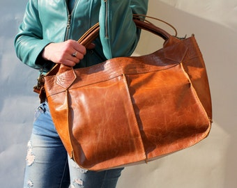 Medium Bach Tote and Cross Body bag in Smooth Tan Leather
