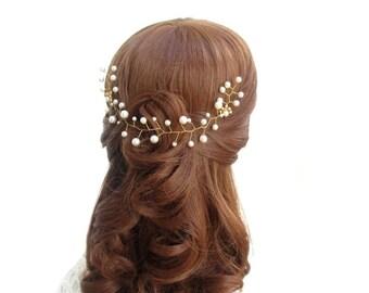 Tendril of hair hair vine tiara wedding, Bridal hair vine tiara Wedding needles connector white Perals