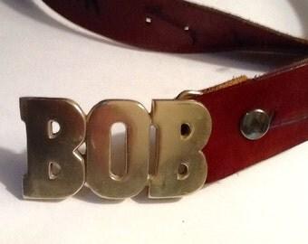 Vintage Mens Brass Belt Buckle  / BOB Belt Buckle / Retro / Boho / Solid Brass / Abstract / Hipster / Hippie