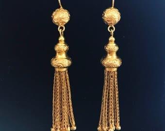 Victorian Gold Tassle Earrings