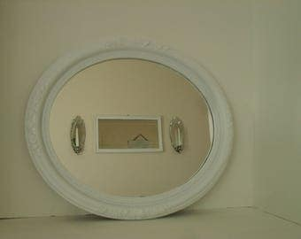 Large Oval Mirror White Floral Design Upcycled Syroco