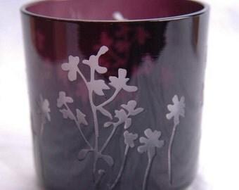 Vintage Purple Candle Holder - Italian Etched Glass - Votive Tea Light Holder